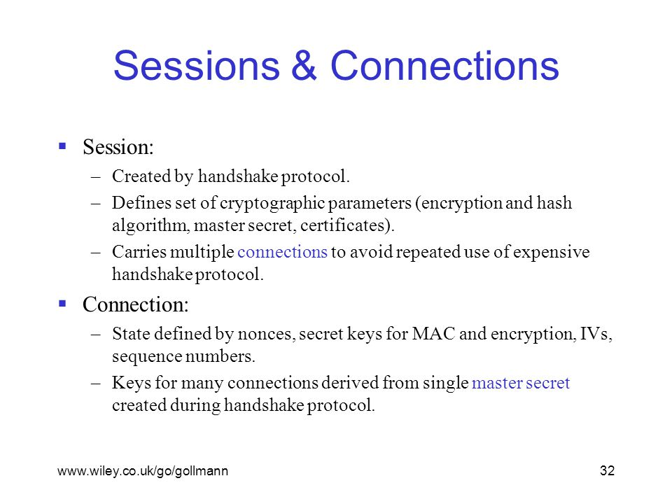 www.wiley.co.uk/go/gollmann32 Sessions & Connections  Session: –Created by handshake protocol.