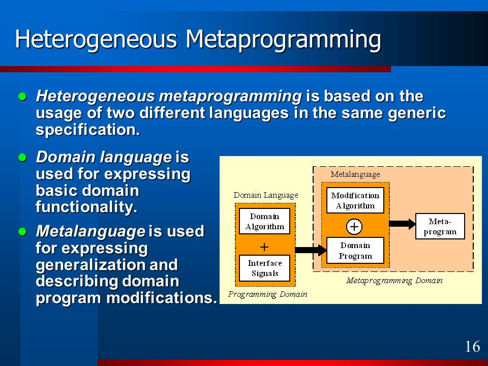 16 Heterogeneous Metaprogramming Domain language is used for expressing basic domain functionality.