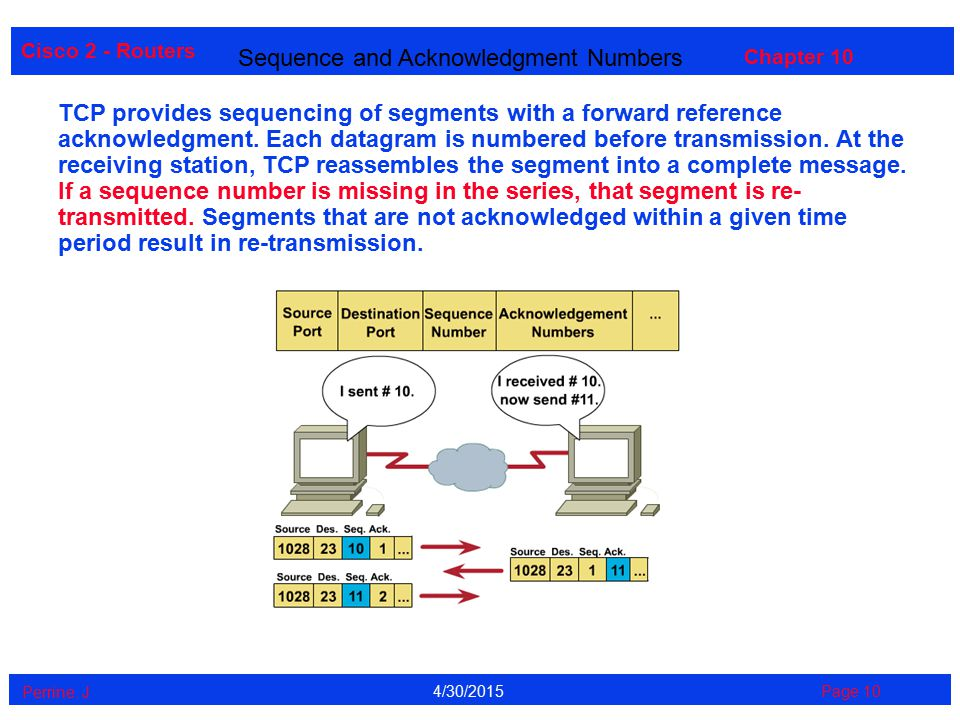 Cisco 2 - Routers Perrine. J Page 104/30/2015 Chapter 10 Sequence and Acknowledgment Numbers TCP provides sequencing of segments with a forward refere
