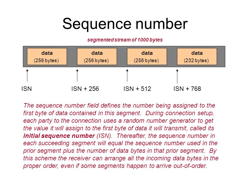 Sequence number data (256 bytes) The sequence number field defines the number being assigned to the first byte of data contained in this segment.