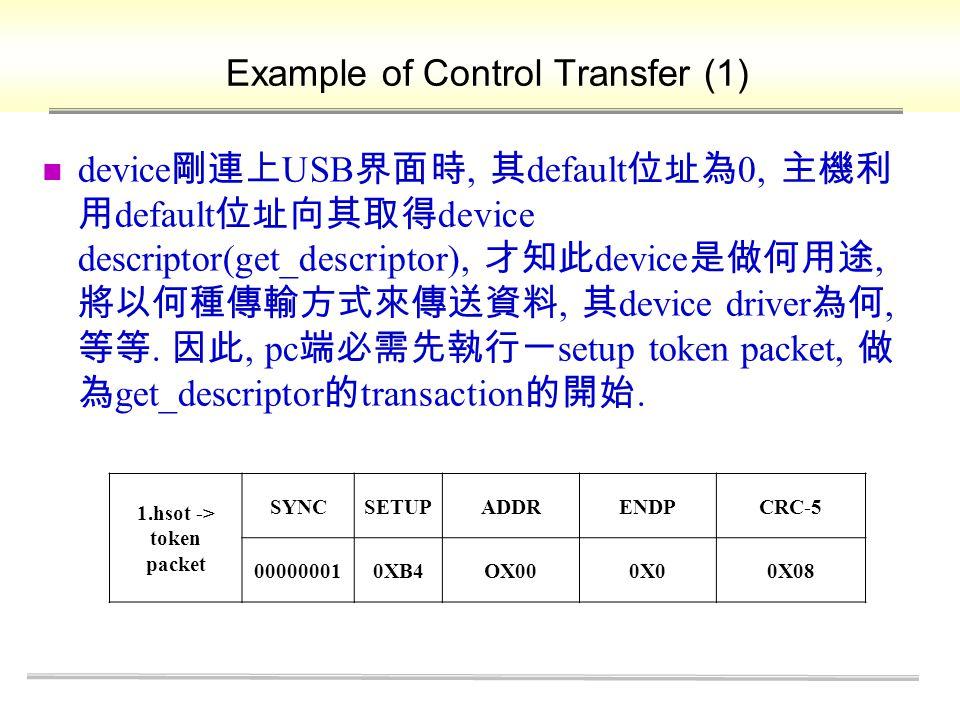 Example of Control Transfer (1) device 剛連上 USB 界面時, 其 default 位址為 0, 主機利 用 default 位址向其取得 device descriptor(get_descriptor), 才知此 device 是做何用途, 將以何種傳輸方式來傳送資料, 其 device driver 為何, 等等.