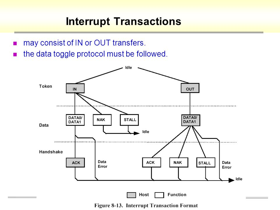 Interrupt Transactions may consist of IN or OUT transfers.