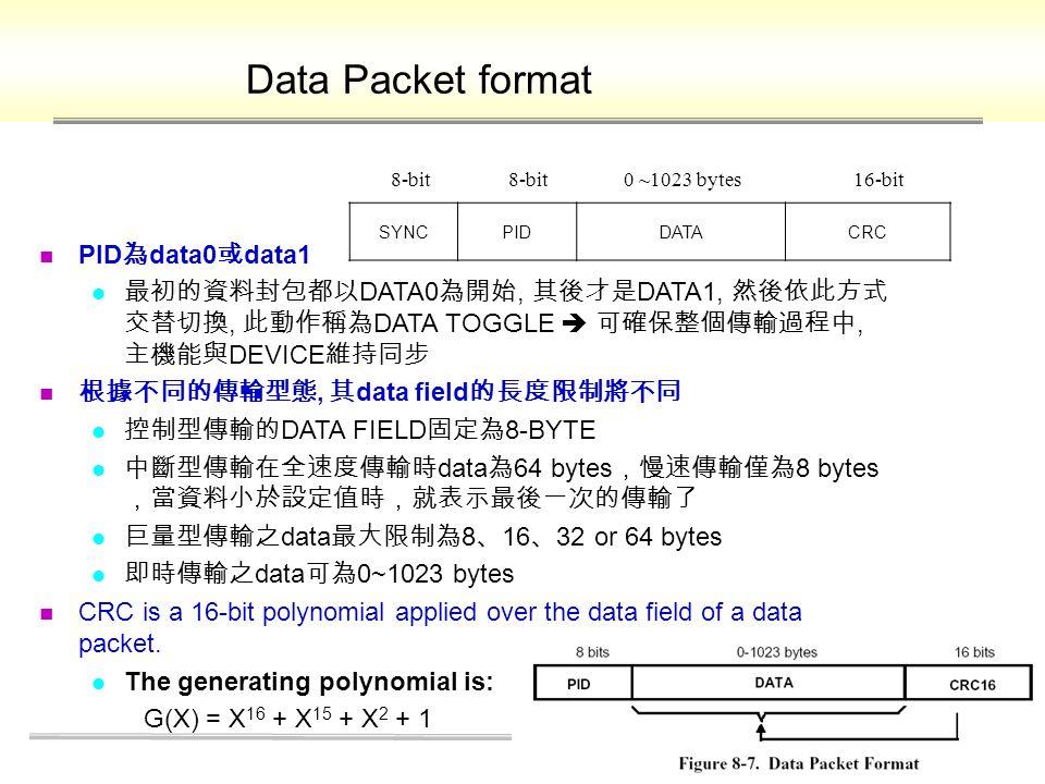 Data Packet format PID 為 data0 或 data1 最初的資料封包都以 DATA0 為開始, 其後才是 DATA1, 然後依此方式 交替切換, 此動作稱為 DATA TOGGLE  可確保整個傳輸過程中, 主機能與 DEVICE 維持同步 根據不同的傳輸型態, 其 data field 的長度限制將不同 控制型傳輸的 DATA FIELD 固定為 8-BYTE 中斷型傳輸在全速度傳輸時 data 為 64 bytes ,慢速傳輸僅為 8 bytes ,當資料小於設定值時,就表示最後一次的傳輸了 巨量型傳輸之 data 最大限制為 8 、 16 、 32 or 64 bytes 即時傳輸之 data 可為 0~1023 bytes CRC is a 16-bit polynomial applied over the data field of a data packet.
