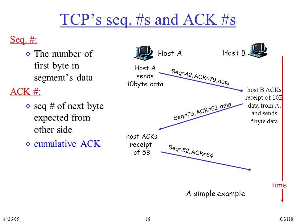 4//26/05CS11818 TCP's seq. #s and ACK #s Seq.