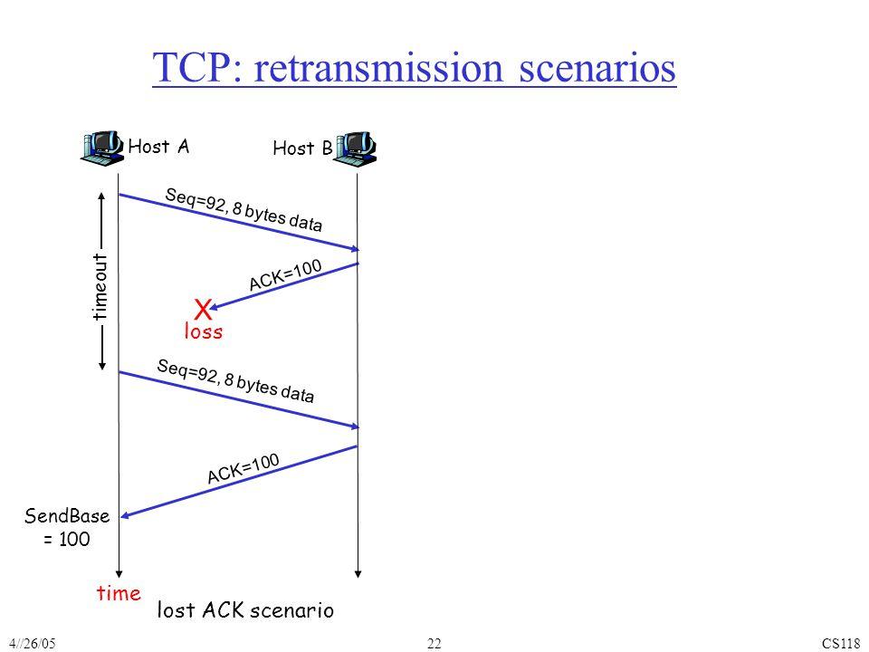 4//26/05CS11822 TCP: retransmission scenarios Host A Seq=100, 20 bytes data ACK=100 time premature timeout Host B Seq=92, 8 bytes data ACK=120 Seq=92,
