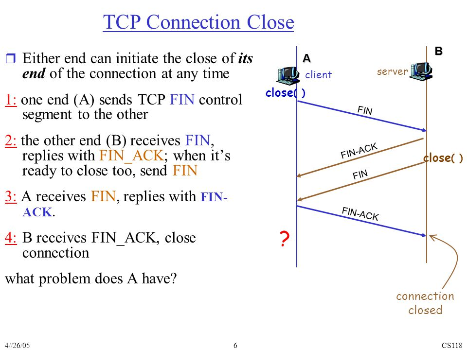 4//26/05CS1186 TCP Connection Close r Either end can initiate the close of its end of the connection at any time 1: one end (A) sends TCP FIN control segment to the other 2: the other end (B) receives FIN, replies with FIN_ACK; when it's ready to close too, send FIN 3: A receives FIN, replies with FIN- ACK.