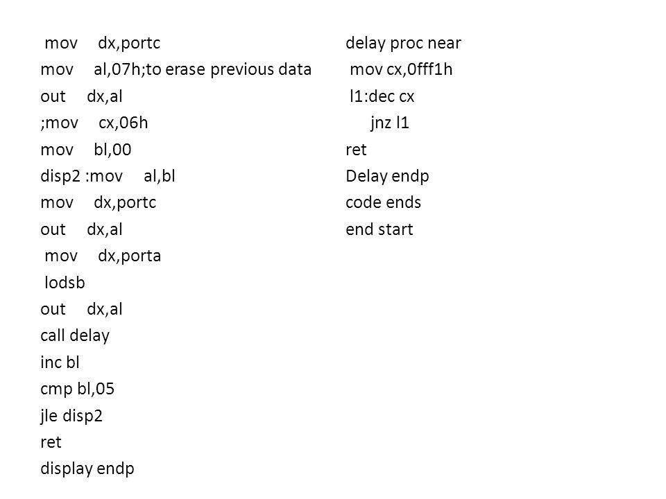 mov dx,portc mov al,07h;to erase previous data out dx,al ;mov cx,06h mov bl,00 disp2 :mov al,bl mov dx,portc out dx,al mov dx,porta lodsb out dx,al ca