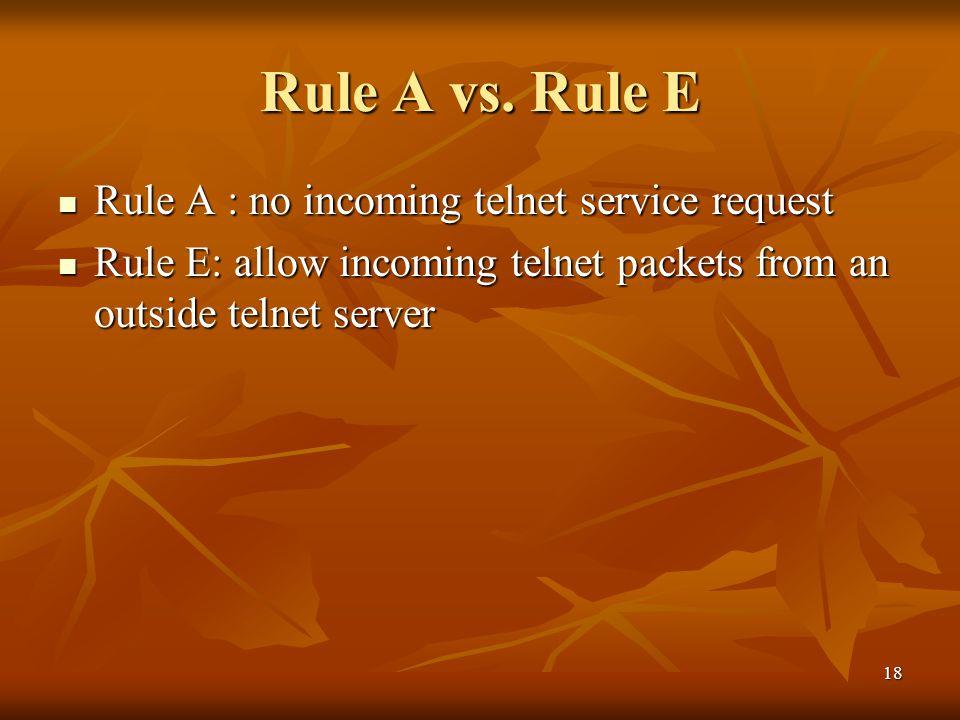 18 Rule A vs. Rule E Rule A : no incoming telnet service request Rule A : no incoming telnet service request Rule E: allow incoming telnet packets fro