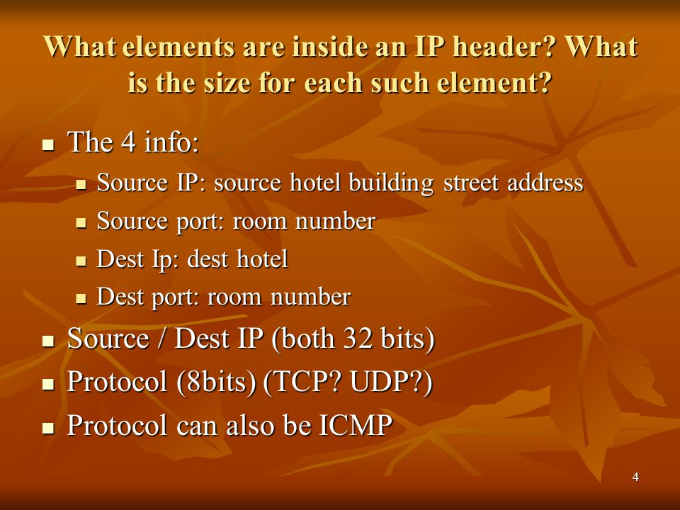5 What elements are inside a TCP header.What is the size for each such element.