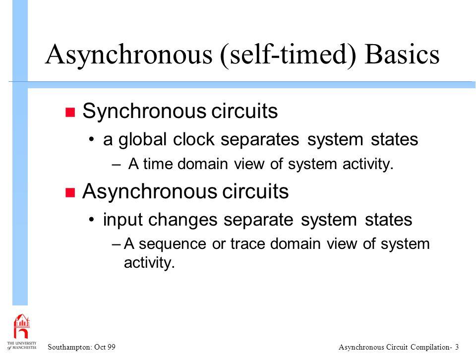 Southampton: Oct 99Asynchronous Circuit Compilation- 4 Why Asynchronous.