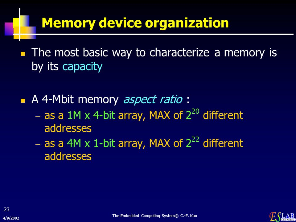 4/9/2002 The Embedded Computing System© C.-F. Kao 23 Memory device organization The most basic way to characterize a memory is by its capacity A 4-Mbi
