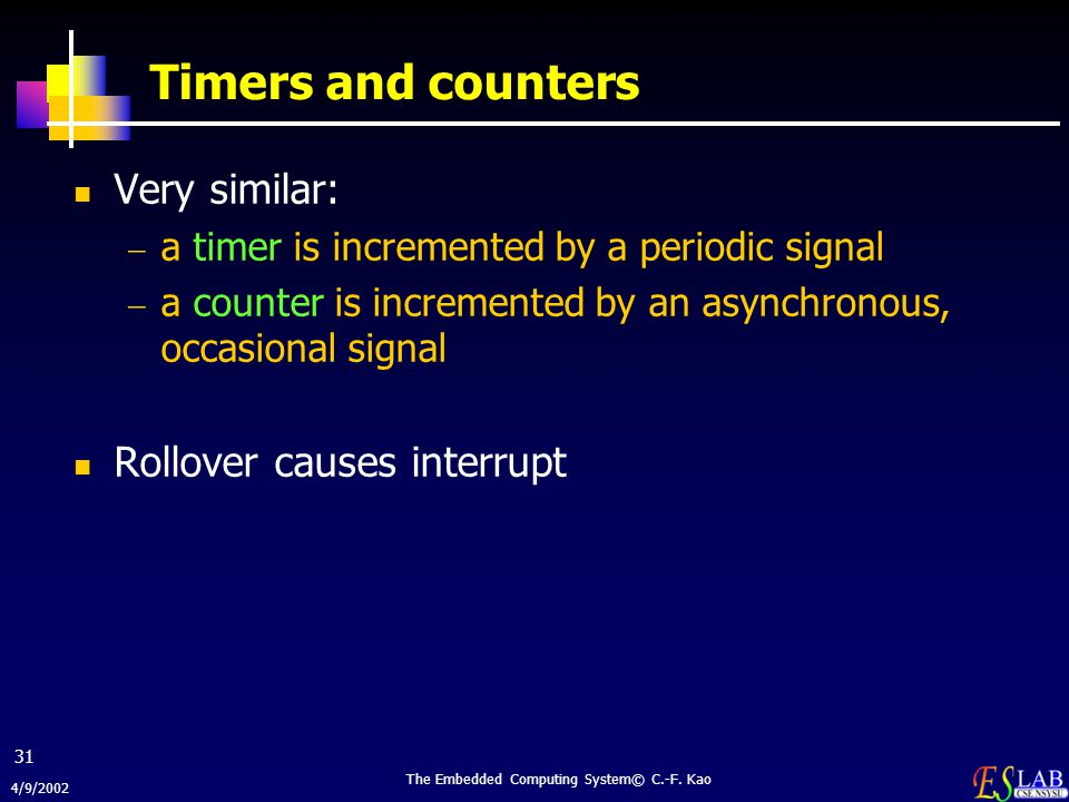 4/9/2002 The Embedded Computing System© C.-F. Kao 31 Timers and counters Very similar:  a timer is incremented by a periodic signal  a counter is in