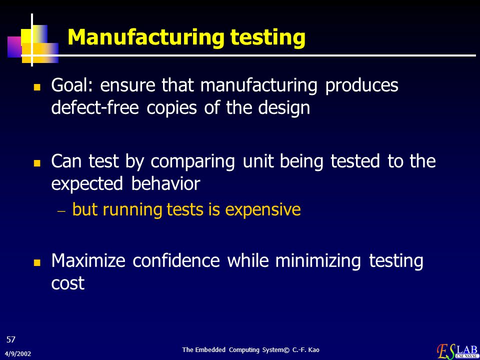 4/9/2002 The Embedded Computing System© C.-F. Kao 57 Manufacturing testing Goal: ensure that manufacturing produces defect-free copies of the design C