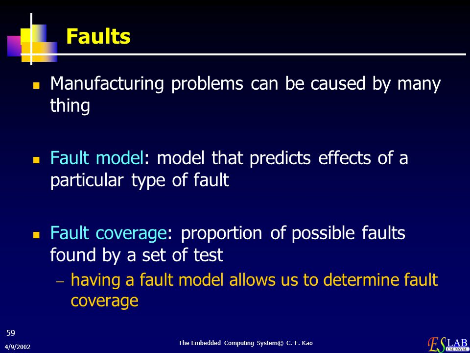 4/9/2002 The Embedded Computing System© C.-F. Kao 59 Faults Manufacturing problems can be caused by many thing Fault model: model that predicts effect