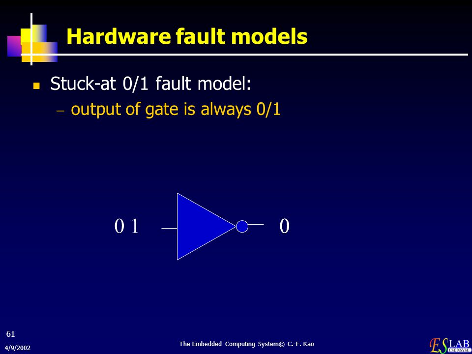 4/9/2002 The Embedded Computing System© C.-F. Kao 61 Hardware fault models Stuck-at 0/1 fault model:  output of gate is always 0/1 0010