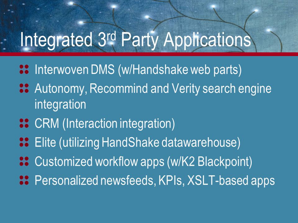 Integrated 3 rd Party Applications Interwoven DMS (w/Handshake web parts) Autonomy, Recommind and Verity search engine integration CRM (Interaction integration) Elite (utilizing HandShake datawarehouse) Customized workflow apps (w/K2 Blackpoint) Personalized newsfeeds, KPIs, XSLT-based apps
