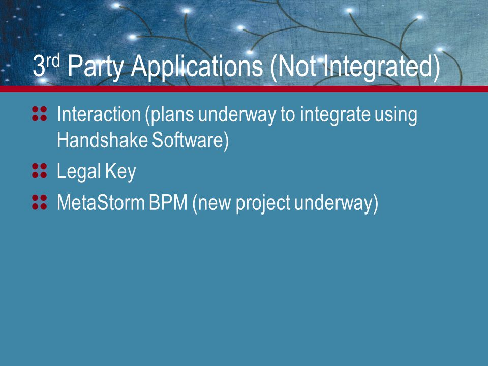 3 rd Party Applications (Not Integrated) Interaction (plans underway to integrate using Handshake Software) Legal Key MetaStorm BPM (new project underway)
