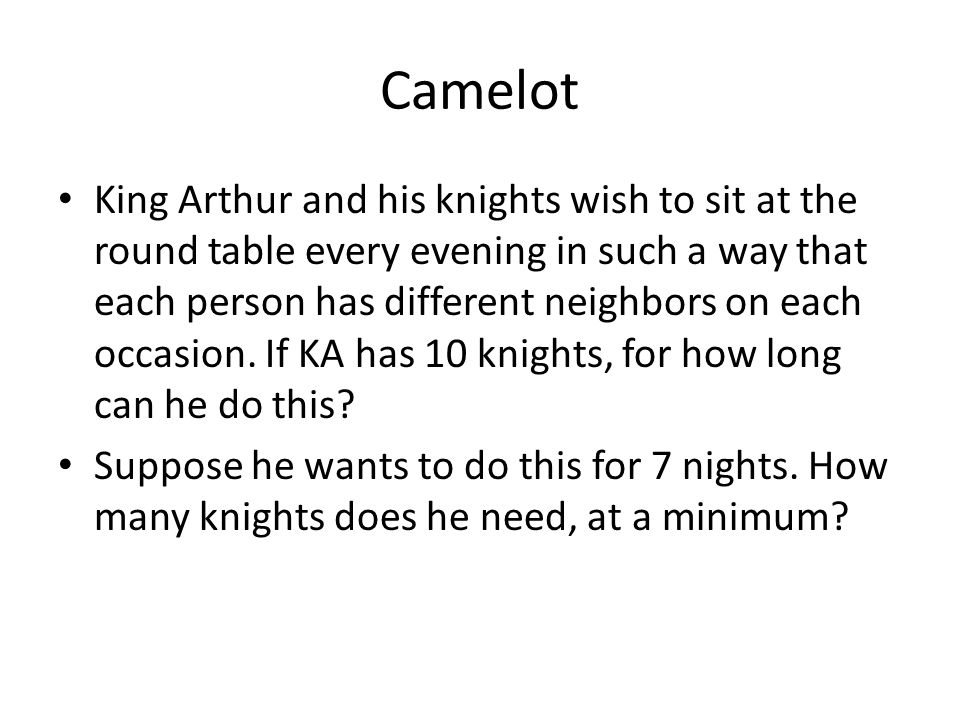 Camelot King Arthur and his knights wish to sit at the round table every evening in such a way that each person has different neighbors on each occasion.