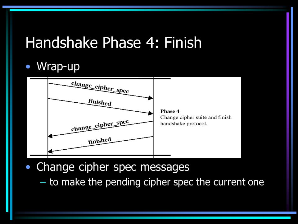 Handshake Phase 4: Finish Wrap-up Change cipher spec messages –to make the pending cipher spec the current one