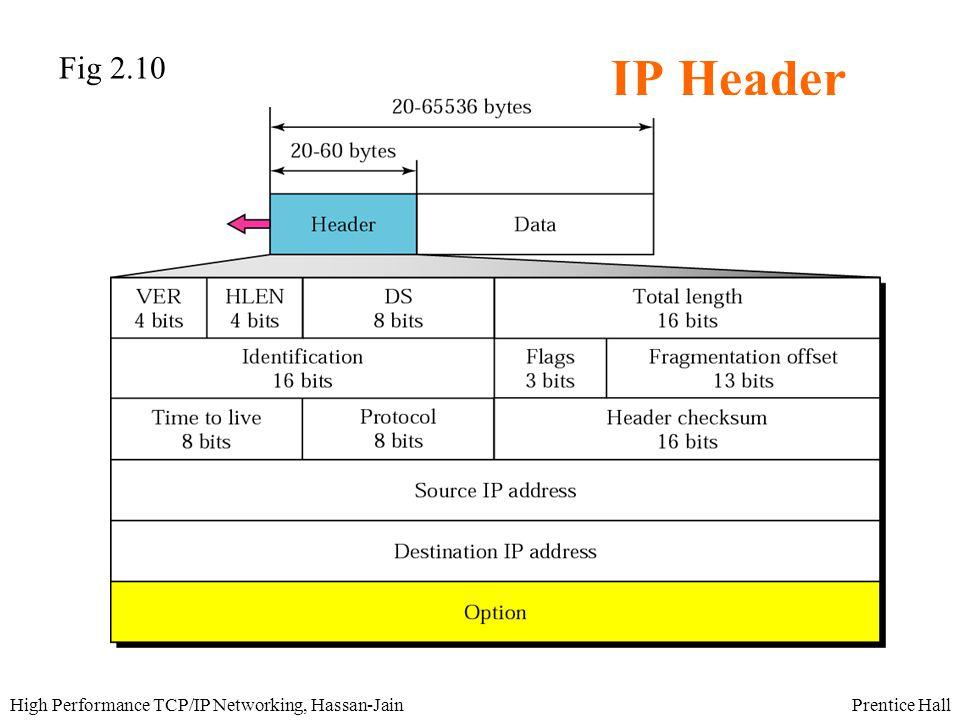 Prentice HallHigh Performance TCP/IP Networking, Hassan-Jain IP Header Fig 2.10