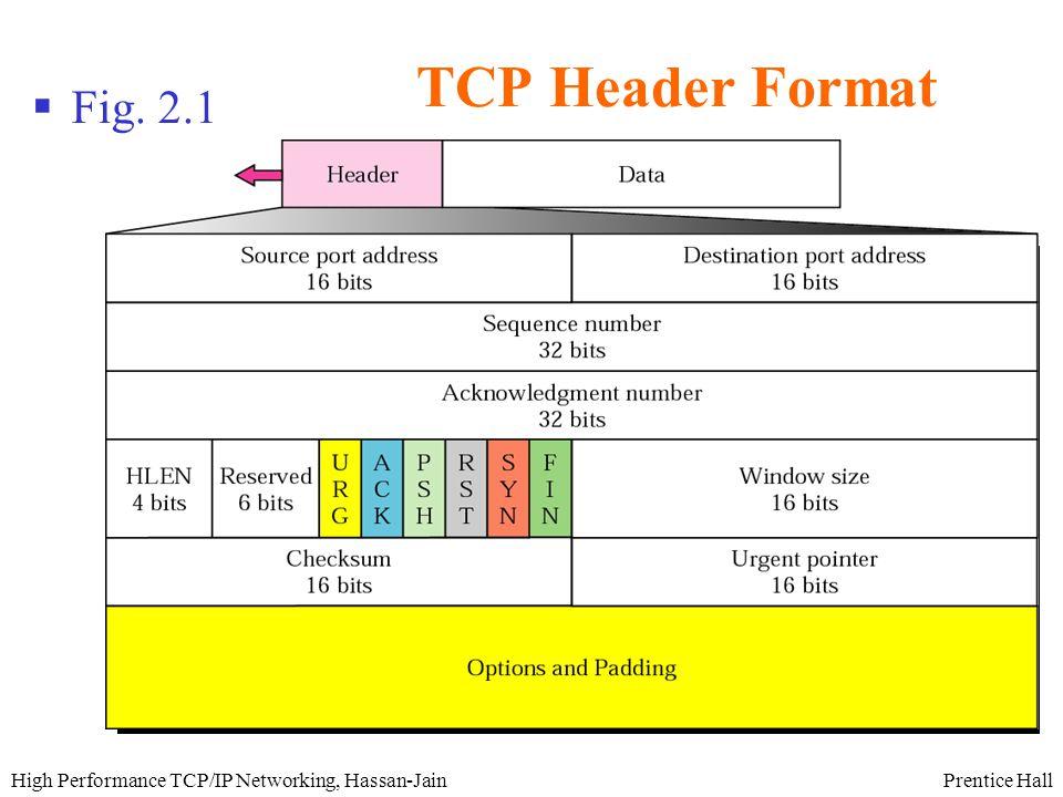 Prentice HallHigh Performance TCP/IP Networking, Hassan-Jain TCP Header Format (Cont.)  Source Port (16 bits)  Destination Port (16 bits)  Sequence number (32 bits)  Ack number (32 bits)  Header Length (4 bits)  Reserved (6 bits)