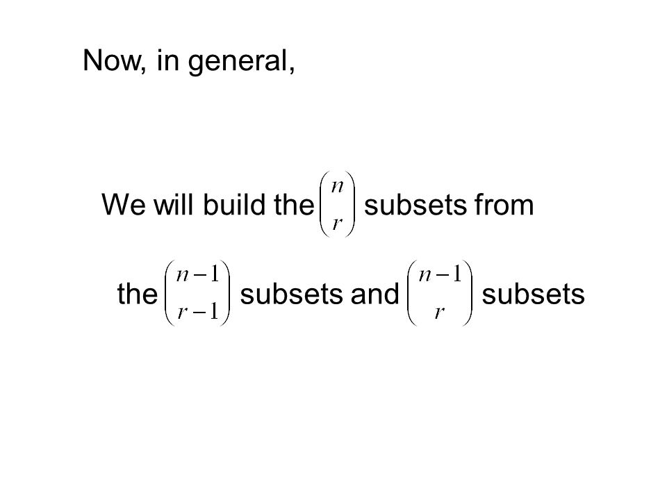 We will build the subsets from the subsets and subsets Now, in general,