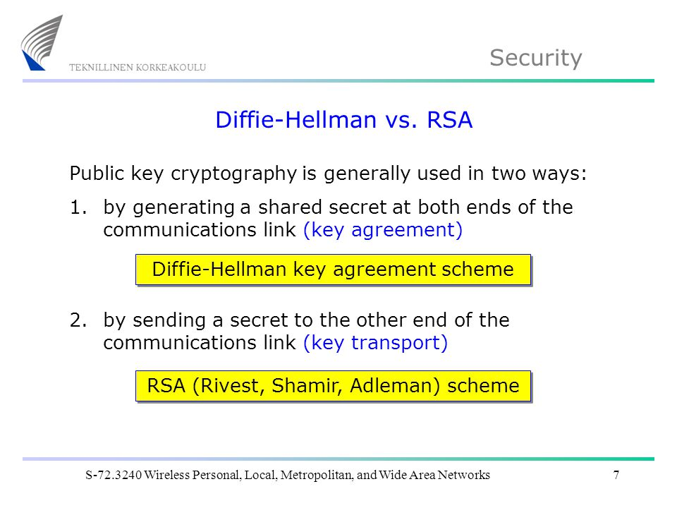 Security S Wireless Personal, Local, Metropolitan, and Wide Area Networks7 Diffie-Hellman vs.