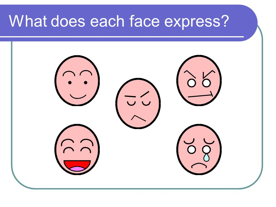 What does each face express