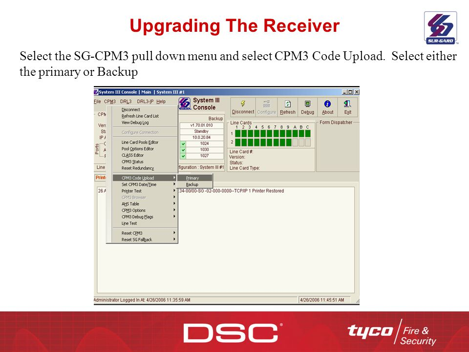 Upgrading The Receiver Select the SG-CPM3 pull down menu and select CPM3 Code Upload. Select either the primary or Backup