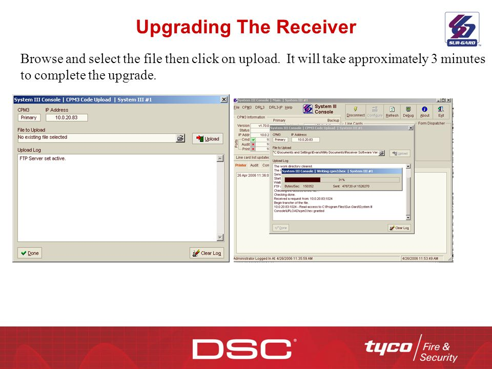 Upgrading The Receiver Browse and select the file then click on upload. It will take approximately 3 minutes to complete the upgrade.