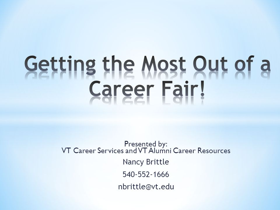 Presented by: VT Career Services and VT Alumni Career Resources Nancy Brittle 540-552-1666 nbrittle@vt.edu
