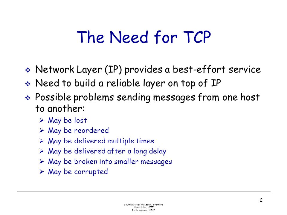 Courtesy: Nick McKeown, Stanford Umar Kalim, NIIT Robin Kravets, UIUC 2 The Need for TCP  Network Layer (IP) provides a best-effort service  Need to build a reliable layer on top of IP  Possible problems sending messages from one host to another:  May be lost  May be reordered  May be delivered multiple times  May be delivered after a long delay  May be broken into smaller messages  May be corrupted