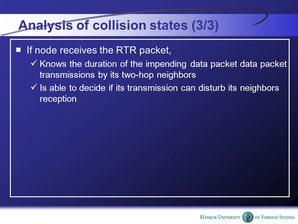 Analysis of collision states (3/3) ■If node receives the RTR packet, Knows the duration of the impending data packet data packet transmissions by its