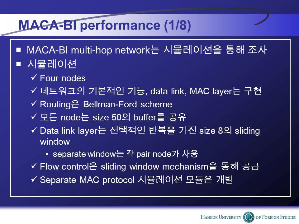 MACA-BI performance (1/8) ■MACA-BI multi-hop network 는 시뮬레이션을 통해 조사 ■ 시뮬레이션 Four nodes 네트워크의 기본적인 기능, data link, MAC layer 는 구현 Routing 은 Bellman-Ford scheme 모든 node 는 size 50 의 buffer 를 공유 Data link layer 는 선택적인 반복을 가진 size 8 의 sliding window separate window 는 각 pair node 가 사용 Flow control 은 sliding window mechanism 을 통해 공급 Separate MAC protocol 시뮬레이션 모듈은 개발