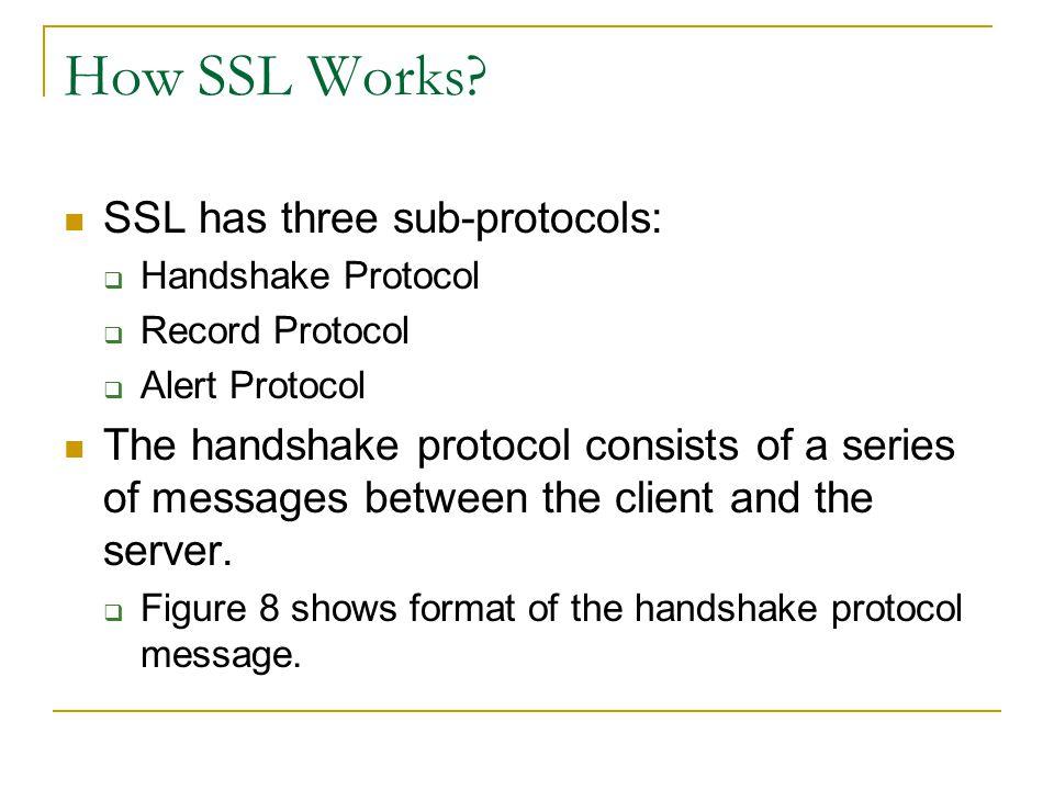How SSL Works? SSL has three sub-protocols:  Handshake Protocol  Record Protocol  Alert Protocol The handshake protocol consists of a series of mes