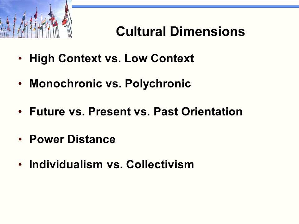 Cultural Dimensions High Context vs. Low Context Monochronic vs.