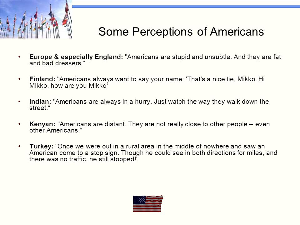 Some Perceptions of Americans Europe & especially England: Americans are stupid and unsubtle.