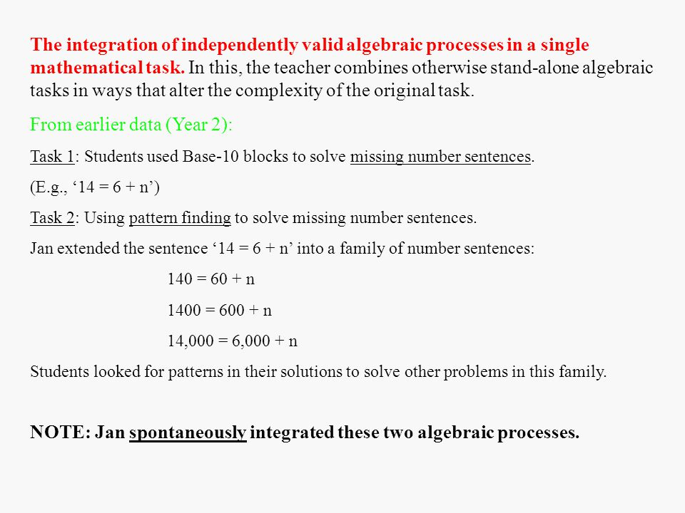 The integration of independently valid algebraic processes in a single mathematical task.
