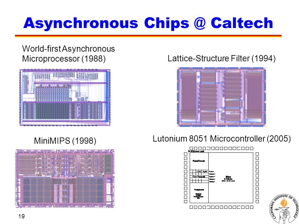19 Asynchronous Chips @ Caltech World-first Asynchronous Microprocessor (1988) MiniMIPS (1998) Lutonium 8051 Microcontroller (2005) Lattice-Structure Filter (1994)