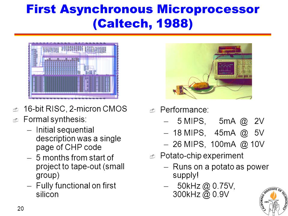 20 First Asynchronous Microprocessor (Caltech, 1988)  Performance: – 5 MIPS, 5mA @ 2V –18 MIPS, 45mA @ 5V –26 MIPS, 100mA @ 10V  16-bit RISC, 2-micron CMOS  Formal synthesis: –Initial sequential description was a single page of CHP code –5 months from start of project to tape-out (small group) –Fully functional on first silicon  Potato-chip experiment –Runs on a potato as power supply.