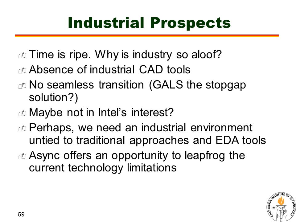 59 Industrial Prospects  Time is ripe. Why is industry so aloof.