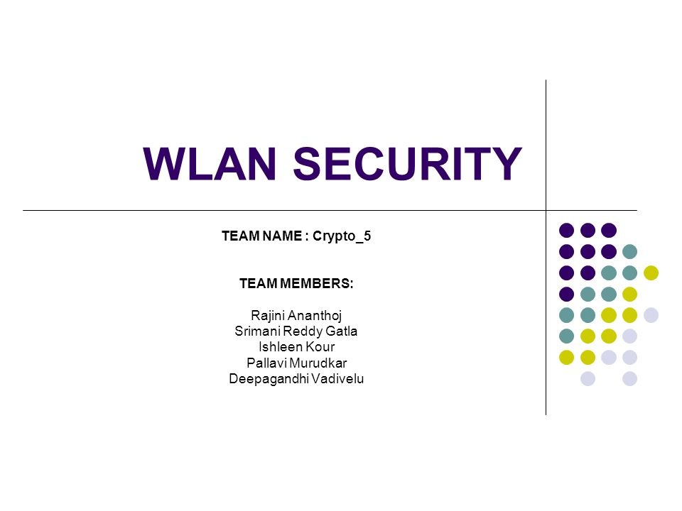 Agenda WLAN and architecture Security issues faced in WLAN Basic security of WLAN solutions for WLAN security 802.1X EAP Authentication methods TKIP CCMP Intrusion prevention system Hardware solutions Things you can do to secure your wireless network Conclusion References