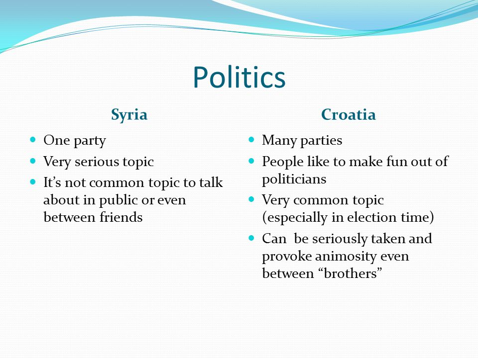 Politics Syria Croatia One party Very serious topic It's not common topic to talk about in public or even between friends Many parties People like to make fun out of politicians Very common topic (especially in election time) Can be seriously taken and provoke animosity even between brothers