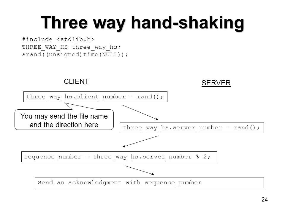 24 Three way hand-shaking #include THREE_WAY_HS three_way_hs; srand((unsigned)time(NULL)); three_way_hs.client_number = rand(); CLIENT SERVER three_wa