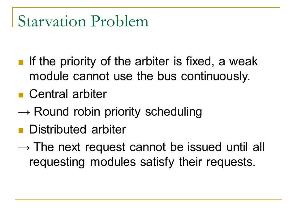 Starvation Problem If the priority of the arbiter is fixed, a weak module cannot use the bus continuously.