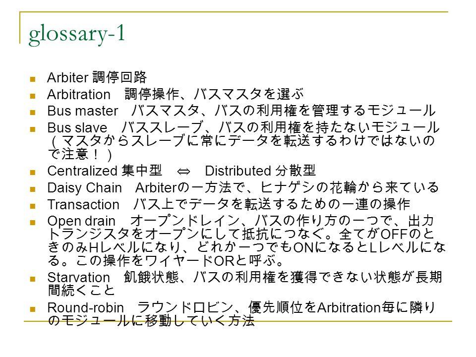 glossary-1 Arbiter 調停回路 Arbitration 調停操作、バスマスタを選ぶ Bus master バスマスタ、バスの利用権を管理するモジュール Bus slave バススレーブ、バスの利用権を持たないモジュール (マスタからスレーブに常にデータを転送するわけではないの で注意