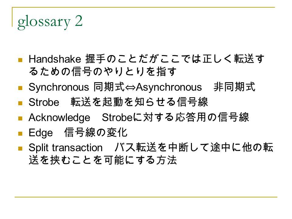 glossary 2 Handshake 握手のことだがここでは正しく転送す るための信号のやりとりを指す Synchronous 同期式⇔ Asynchronous 非同期式 Strobe 転送を起動を知らせる信号線 Acknowledge Strobe に対する応答用の信号線 Edge 信号線の