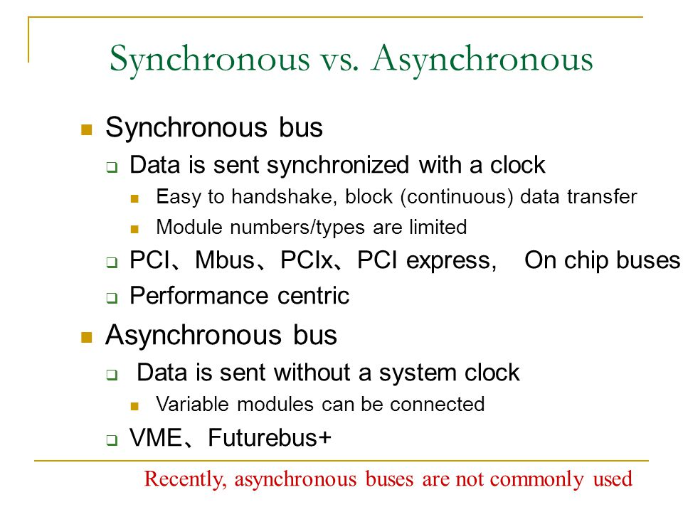 Synchronous vs. Asynchronous Synchronous bus  Data is sent synchronized with a clock Easy to handshake, block (continuous) data transfer Module numbe