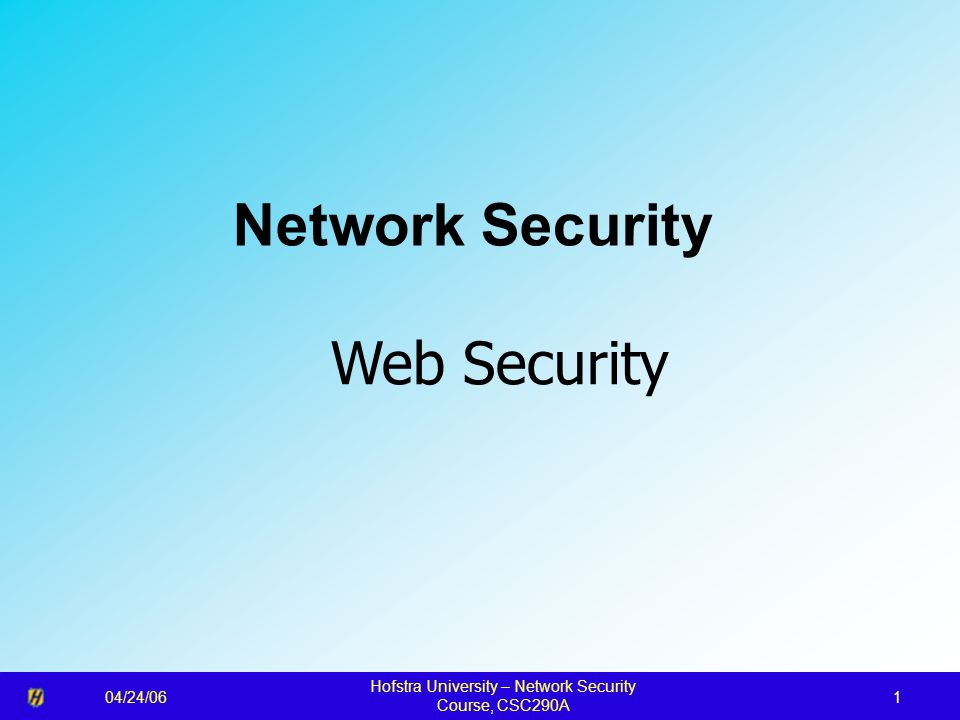 04/24/06 Hofstra University – Network Security Course, CSC290A 1 Network Security Web Security