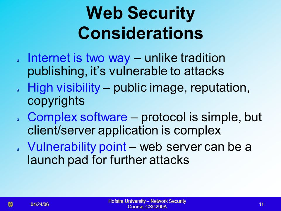 04/24/06 Hofstra University – Network Security Course, CSC290A 11 Web Security Considerations Internet is two way – unlike tradition publishing, it's
